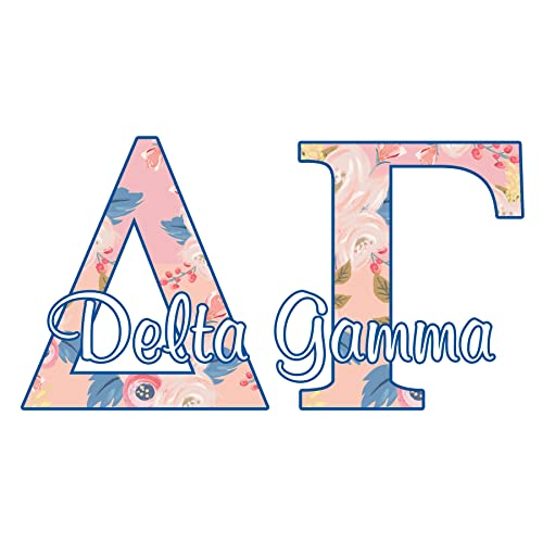 delta gamma sorority decal 4 inch wide sticker floral letters in pink