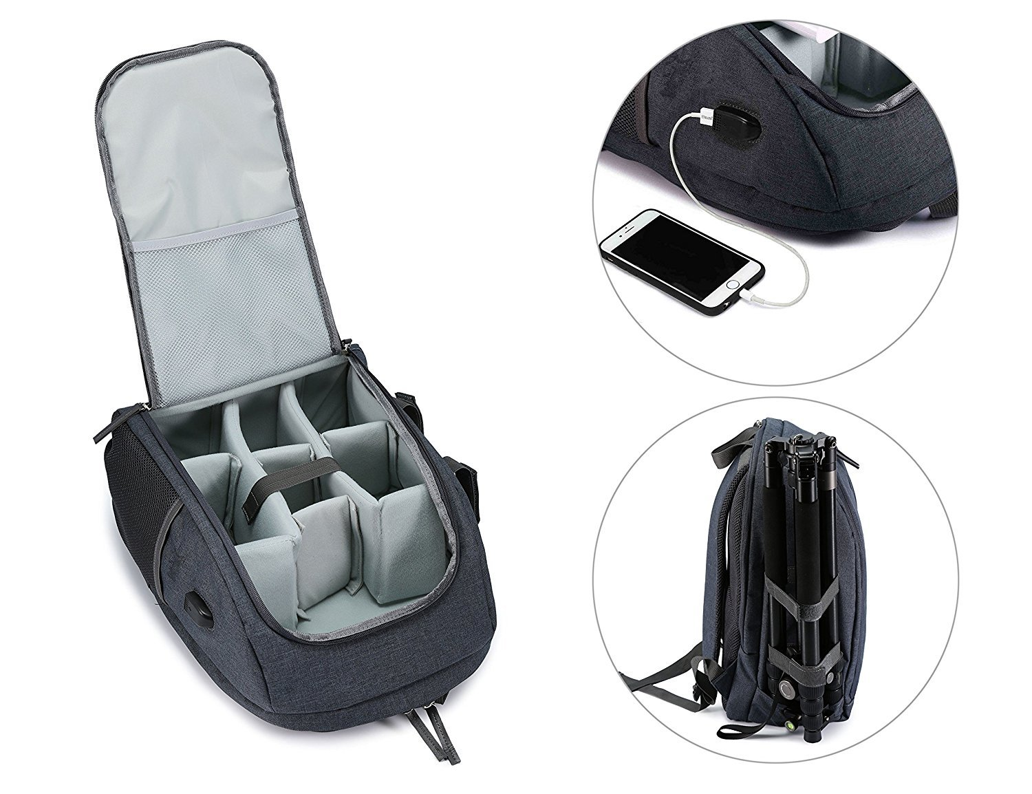 Camera Backpack Waterproof Nylon DSLR Backpack Professional Camera Bag with USB External Charging Port for Canon Nikon Sony Camera Accessories and Laptops Tablets Black (Gray) by Cozyvie (Image #7)