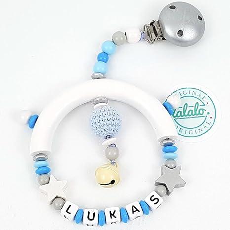 Azul Premium cochecito Cadena + Nombre Personalizado con ganchillo Perle, estrella de motivos y cascabeles
