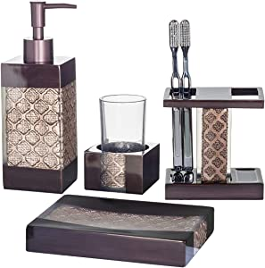 Dahlia 4-Piece Bathroom Accessories Set | Decorative Bath Accessory Kit with Soap Dispenser, Toothbrush Holder, Soap Dish, and Tumbler | Rust-Resistant Bath Ensemble Set | Elegant Decoration Ideas
