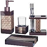 Dahlia 4-Piece Bathroom Accessories Set | Decorative Bath Accessory Kit with Soap Dispenser, Toothbrush Holder, Soap…