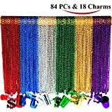 Joyin Toy 84 Pieces 33 inch 07mm Metallic Mardi Gras Beads Beaded Necklace with 18 Charms