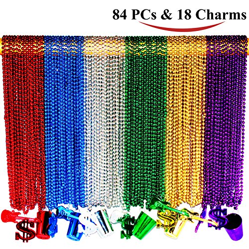 Mardi Beads (Joyin Toy 84 Pieces 33 inch 07mm Metallic Mardi Gras Beads Beaded Necklace with 18 Charms)