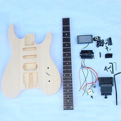 Sin cabeza guitarra eléctrica DIY Kit con todas las partes: Amazon ...