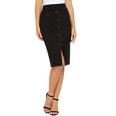 Afibi Womens Elastic Waist Stretch Work Business Bodycon Midi Pencil Skirt: Clothing