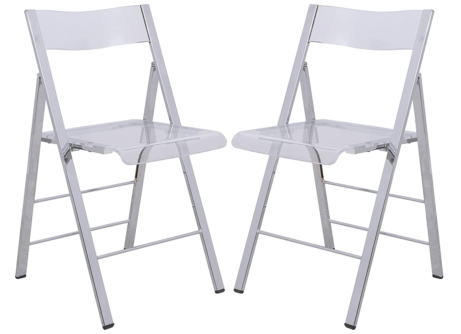LeisureMod Milden Modern Acrylic Folding Chairs, Set of 2 Clear
