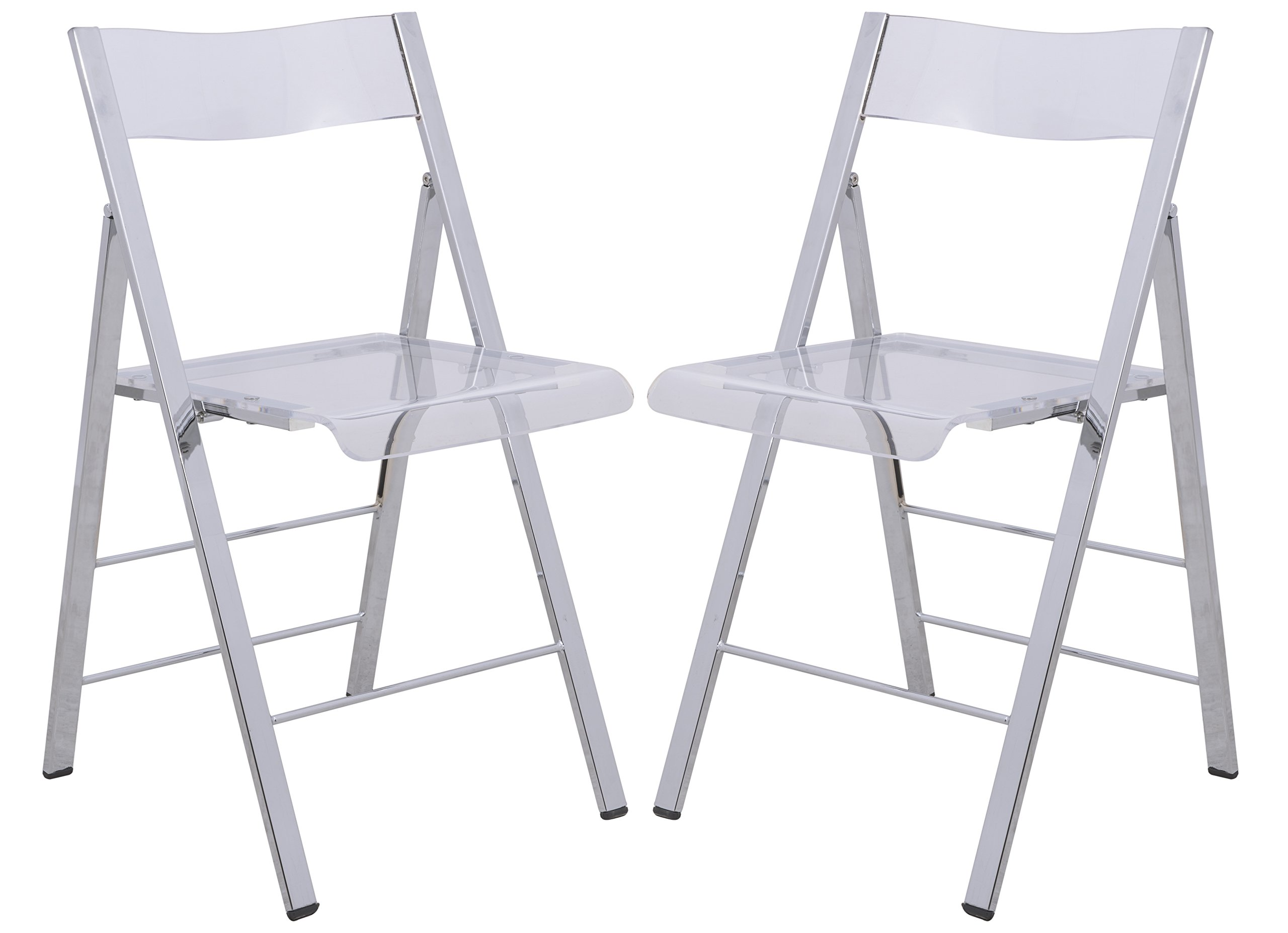 LeisureMod Milden Modern Acrylic Folding Chairs, Set of 2 (Clear) by LeisureMod