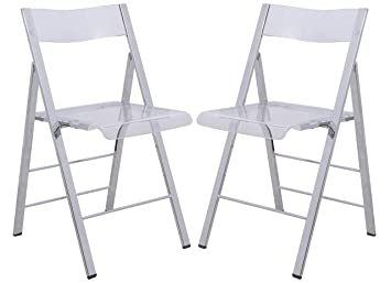 LeisureMod Milden Modern Acrylic Folding Chairs In Clear, Set Of 2