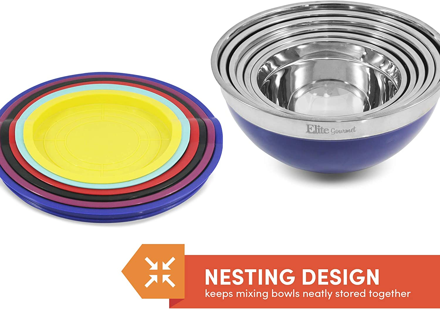 Elite Gourmet Ebs-0012 Colored Mixing Bowls With Lids 12Pc ebs0012