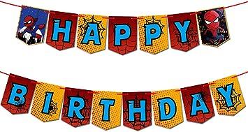 Amazon.com: Spiderman temática feliz cumpleaños Banner ...