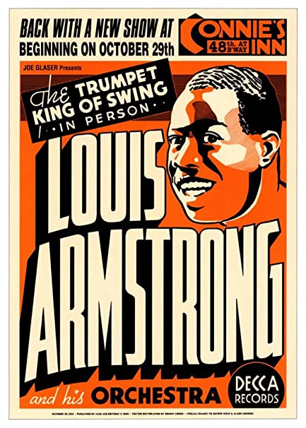 (17x24) Louis Armstrong & his Orchestra (Concert Flyer) Music Poster