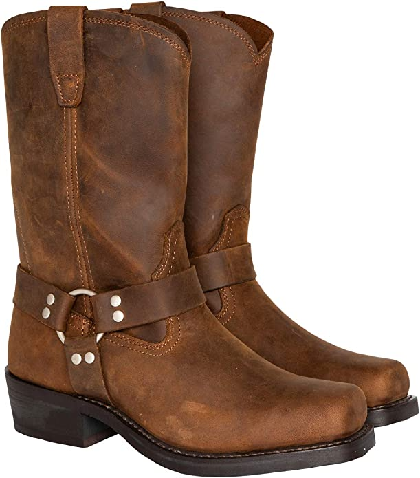 Mens Retro Shoes | Vintage Shoes & Boots Cody James Mens Harness Boot Square Toe - Cj9995bl $112.19 AT vintagedancer.com