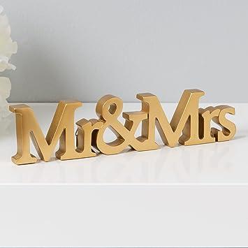 Amazonde Klein Gold Kunstharz Qualität Mr Mrs Wort
