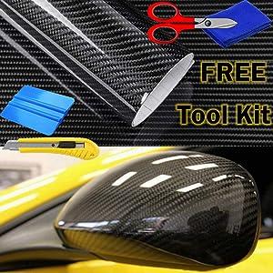 """AutoSpeed 10FT x 5FT Premium 5D HIGH Gloss Black Carbon Fiber Vinyl Wrap Bubble Free Air Release 120""""x60"""""""