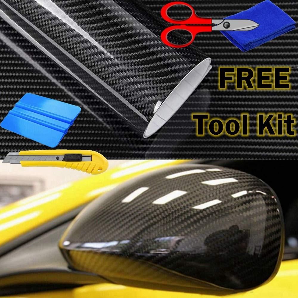 AutoSpeed Premium 5D HIGH Gloss Black Carbon Fiber Vinyl Wrap Bubble Free Air Release (2FTX5FT / 24'X60')