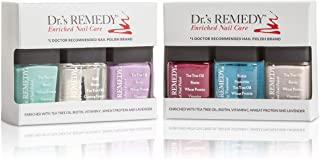 product image for Dr.'s REMEDY, Anti-Fungal Nail Polish ANNUAL Abundance Kit With TOTAL Two-In-One, HYDRATION Nail Treatment, BALANCE Brick Red, LOVEABLE Lavender, KINETIC Khaki and TRUSTING Turquoise
