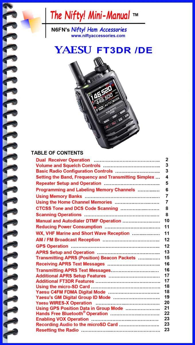 Yaesu FT3DR Mini-Manual Paperback January 1