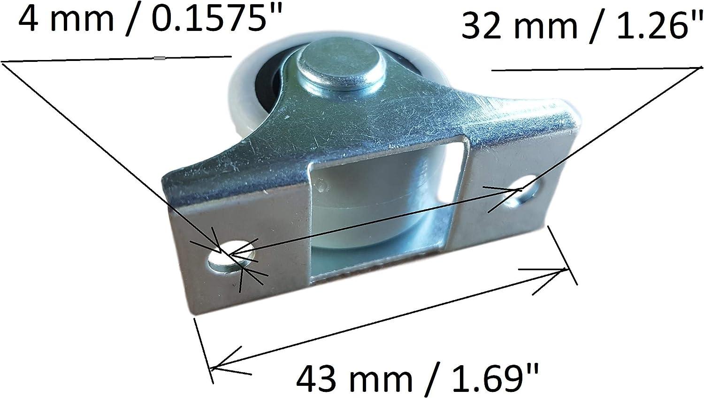 schwenkbar f/ür M/öbel und Ausr/üstung Packung mit 4 St/ück 25 mm Kunststoff-Gummirollen mit Metallplatte Siso A//S Mini-Lenkrollen im Set 4 St/ück