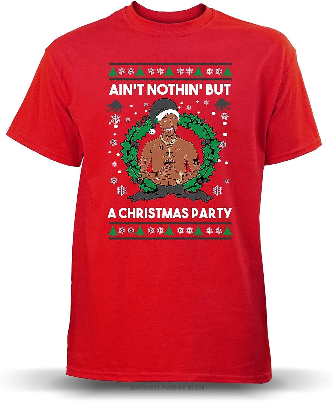 PUSHING BLACK Aint Nothing But a Christmas Party Ladies T-Shirt Gildan Blue , 2XL