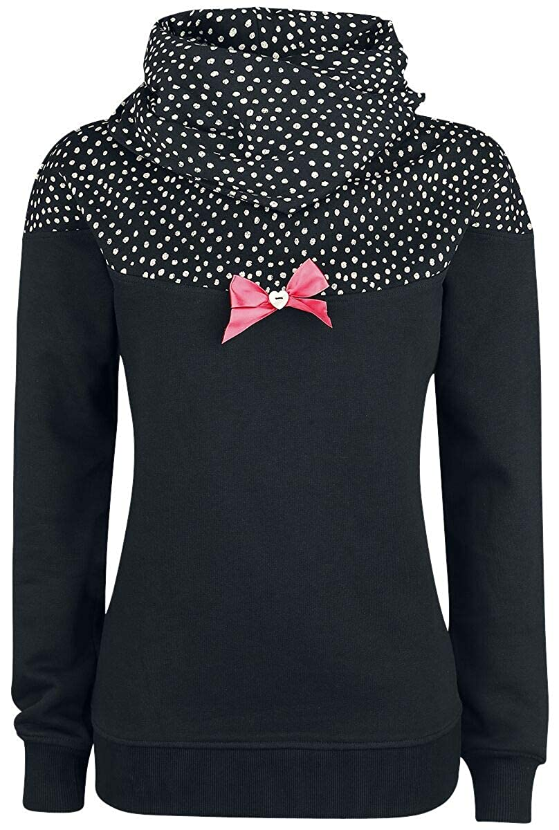 Pussy Deluxe Crumble Dotty Shawl Hoodie Sudadera con Capucha Negro