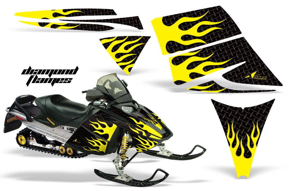 2004 – 2012 Ski Doo Rev AMRRACING Sledグラフィックスデカールキット – ダイヤモンドFlames – yellow-black   B016TQJEA0