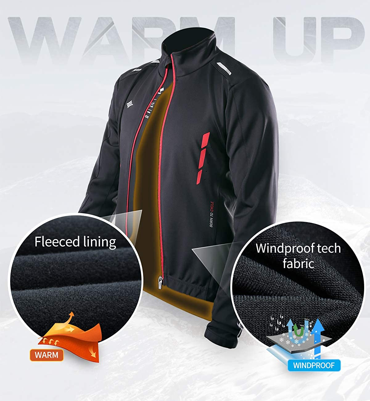 Santic Winter Cycling Jakets for Men Thermal Bike Running Jacket Windproof Breathable Windbreaker : Clothing