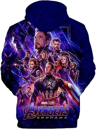 PANOZON Sudadera Hombre Impresión 3D de Vengadores Endgame para Fanes de Película Avengers Superhéroes