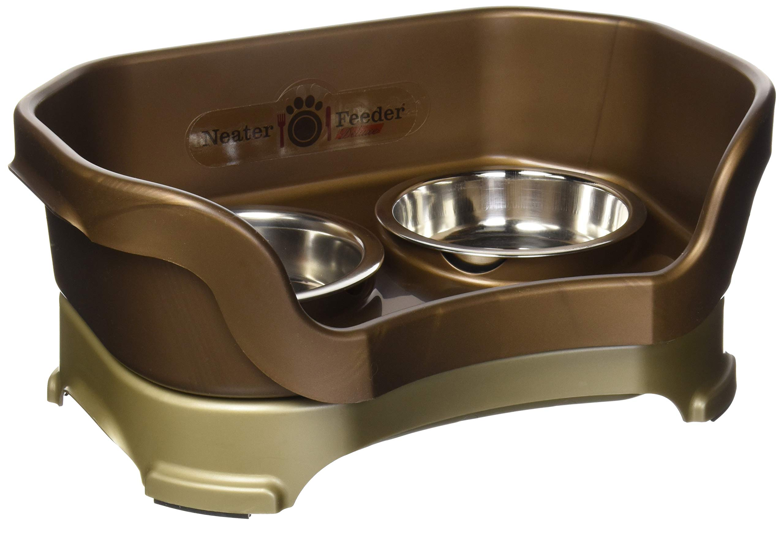 Neater Feeder Deluxe Cat (Bronze) - Mess Proof Elevated Bowls, No Tip Non Slip, Stainless Steel Cat Food and Water Dish Stand by Neater Pet Brands