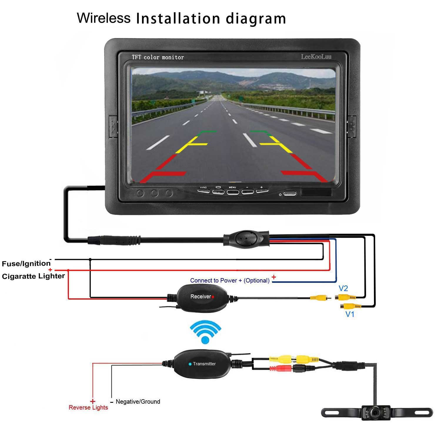 Emmako Backup Camera Wireless And Monitor Kit For Car Plcm7200 Wiring Diagram Vehicle Truck Van Caravan Camper Parking System 7 Tft Display Rear View Night