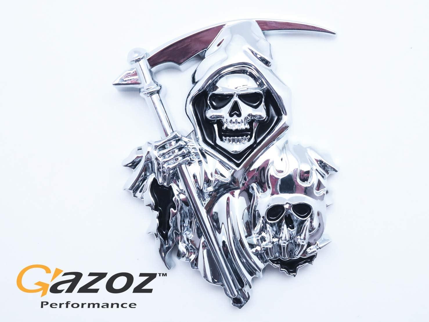 Chrome Skull 3M Sticker 3D CUSTOM CHROME REAPER Skull EMBLEM BADGE STICKER DECAL