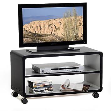 TV Rack - Mesa auxiliar, mueble bajo mesa de salón (Miami, 1 estante, 4 ruedas dobles, en negro/gris: Amazon.es: Juguetes y juegos
