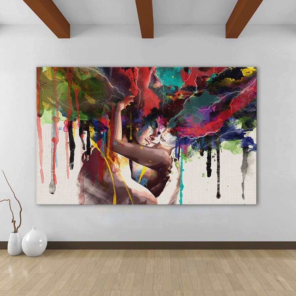 Pictures For Living Room Home Decorative Couple Kiss Abstract Wall Art On Print