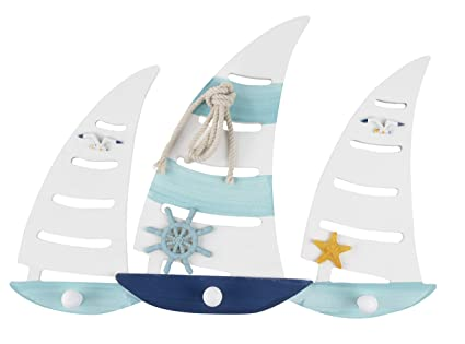 Percha de pared de madera para barco de mar – 1 pieza de adorno con diseño