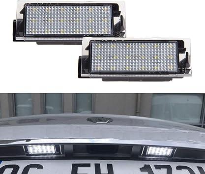Yuguiyun Auto Led Kennzeichenbeleuchtung Nummernschildbeleuchtung Bright Weiß Lampen Leuchtmittel Für Clio Megane Twingo Ii Lagane Ii5d Vel Satis Master 2pcs Auto