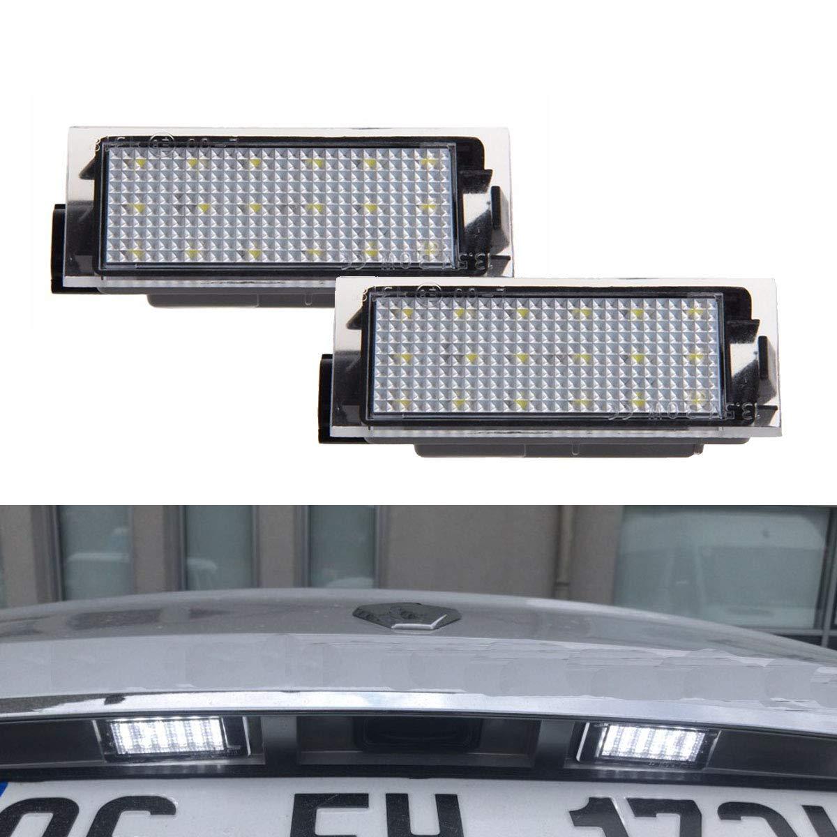 YUGUIYUN Luces de matr/ícula LED de iluminacion 18 LED Error Free Xenon Blanco Bombilla de Coche para Clio Megane Twingo II Lagane II5D Vel Satis Master 2pcs