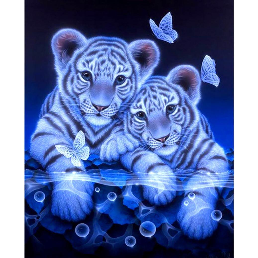 5D DIY Diamond Painting Embroidery,Lisin Full Round Diamond Home Decor Gift Cross Stitch Wall Sticks,Animal Tiger (Tiger A, 40cmx40cm)