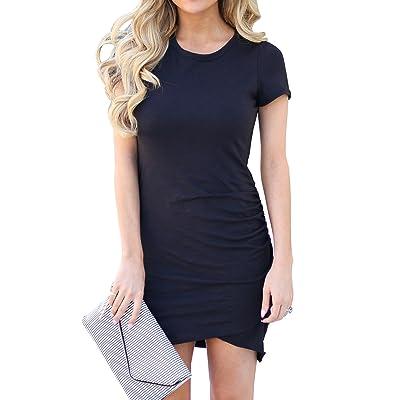 Mafulus Womens Work Casual Short Sleeve Ruched Bodycon Tulip T Shirt Short Mini Dress at Women's Clothing store