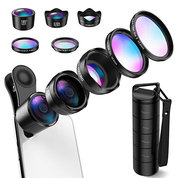 e329b2819da74a (Upgraed) Phone Camera Lens, 5 in 1 Cell Phone Lens Kit, Macro Lens, Wide  Angle Lens, Fisheye Lens, CPL, Starburst Lens for iPhone X 8 7 Plus, Samsung,  ...