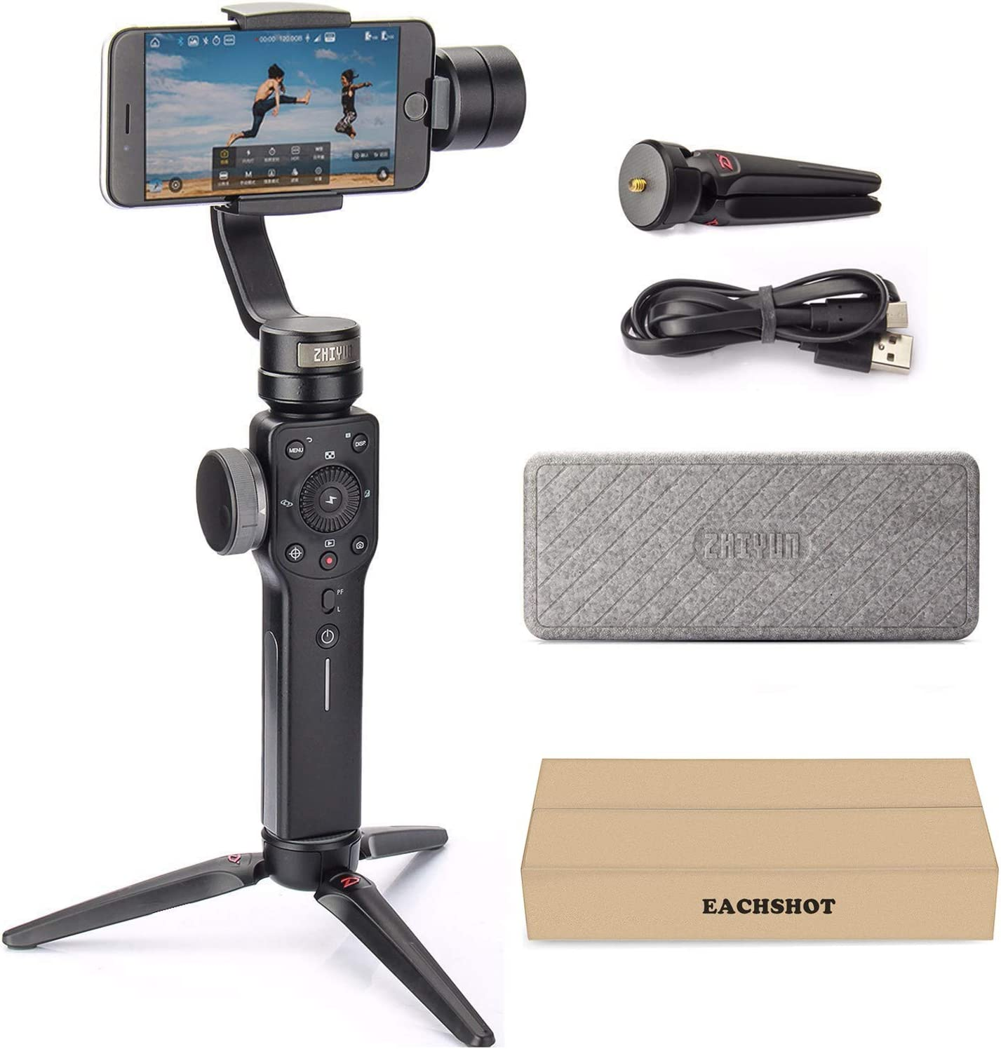 3-Axis Handheld Gimbal Stabilizer YouTube Video Vlog Suitable for iPhone Xs Max Xr X 8 Plus 7 for Huawei for Samsung S9,8 Outdoor Phone Holder