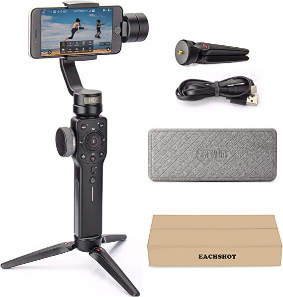 Zhiyun Smooth 4 3-Axis Handheld Gimbal Stabilizer YouTube Video Vlog Tripod for iPhone 11 Pro Xs Max Xr X 8 Plus 7 6 SE Android Smartphone Samsung Galaxy Note10 S10 S9 S8 S7 Q2 Smooth-Q 2019 New Black