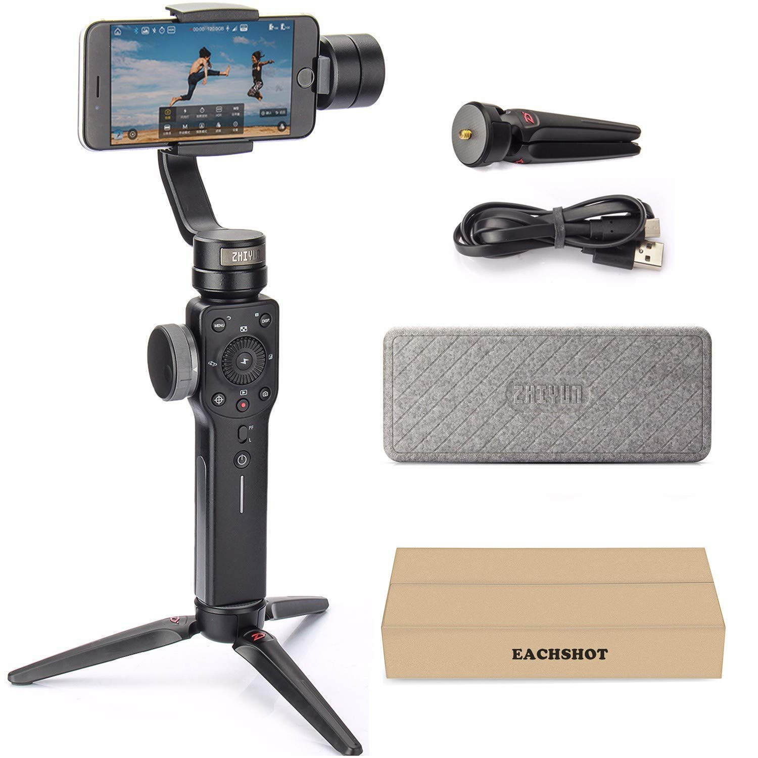 Zhiyun Smooth 4 3-Axis Handheld Gimbal Stabilizer YouTube Video Vlog Tripod for iPhone Xs Max Xr X 8 Plus 7 6 SE Android Smartphone Samsung Galaxy S10 S9+ S9 S8+ S8 S7 Q2 Smooth-Q III 2019 New Black by zhi yun