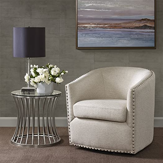 Madison Park Tyler Swivel Chair – Solid Wood, Plywood, Metal Base Accent Armchair Modern Classic Style Family Room Sofa Furniture, Natural