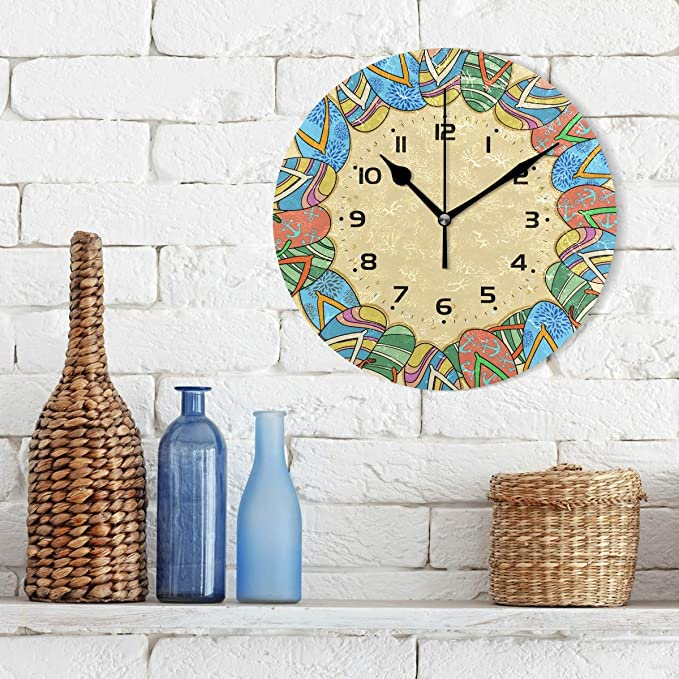 Amazon.com: WellLee Frame Summer Shoes Flip Flops Cool Summer Clock Acrylic Painted Silent Non-Ticking Round Wall Clock Home Art Bedroom Living Dorm Room ...