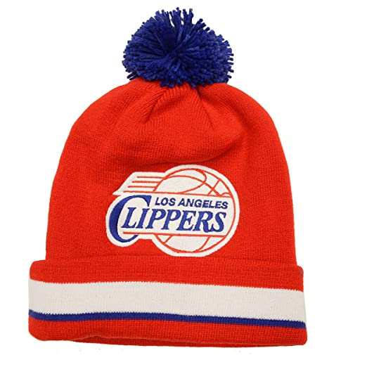25cf8217a24d5 Image Unavailable. Image not available for. Color  Los Angeles Clippers  Mitchell   Ness Jersey Stripe Cuffed Knit Hat with Pom