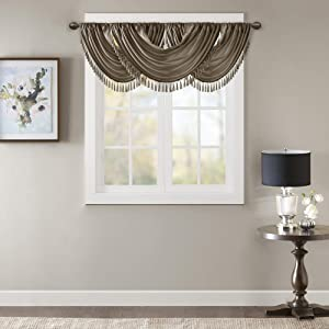 Elena Waterfall Embellished Rod Pocket Valance , Faux Silk Valances for Window , 38X46