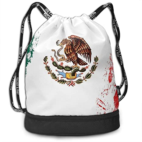 cd515a2915af Amazon.com: Mexican Flag Gym Drawstring Sports Bag Simple Quick Dry ...