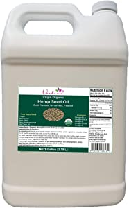 Verdana Organic Cold Pressed Unrefined Canadian Hemp Seed Oil – Bulk 1 Gallon – Liquid Extract -Non-GMO - Kosher Food Grade – Omega – for Skin, Hair, Carrier & Massage
