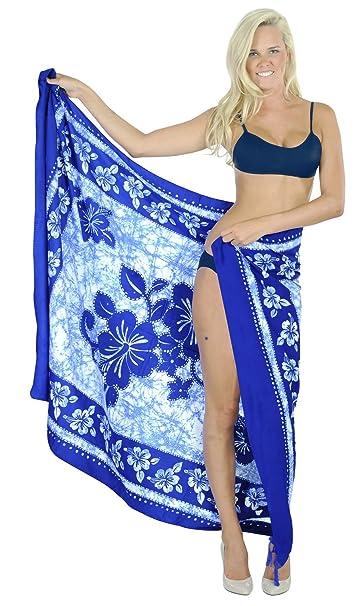 """2a130e02fe LA LEELA Soft Light Aloha Bali Cover Up Sarong Printed 72""""X42""""  Royal Blue_2556"""