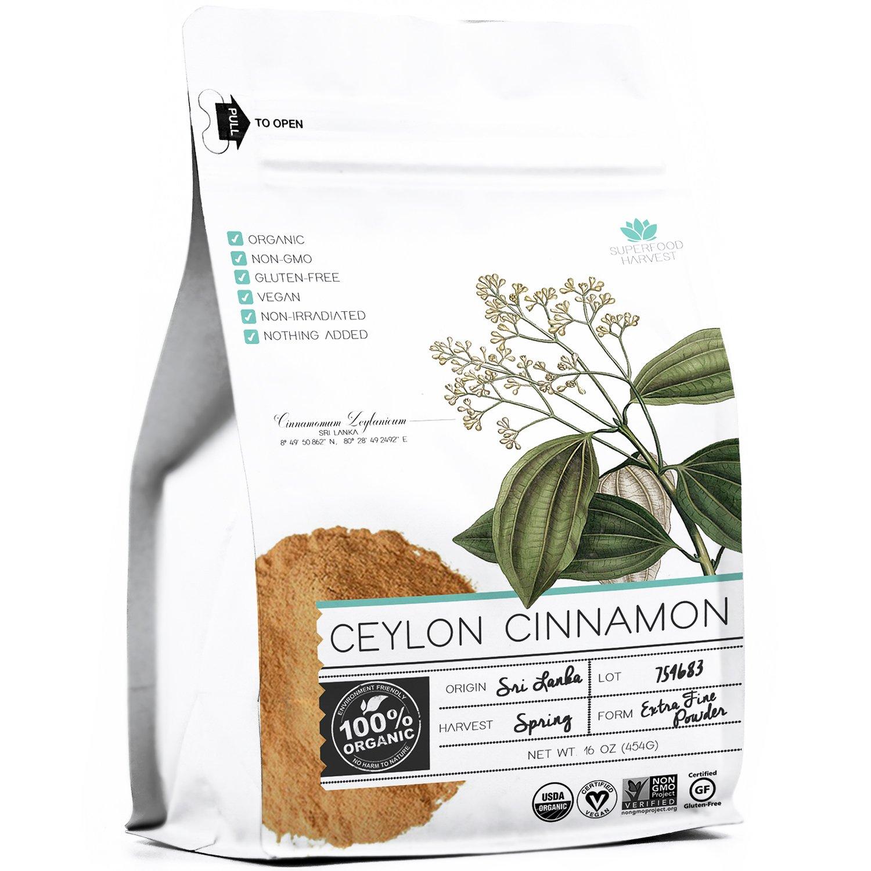 Organic Ceylon Cinnamon Ground Powder - 1 pound - 100% Organic, Non GMO, Highest Quality