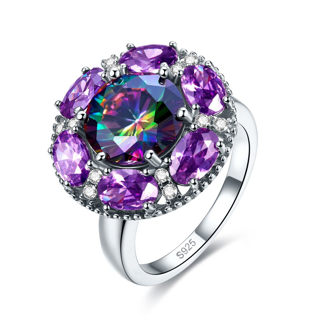 Jrose Created Amethyst/Ruby Halo Cocktail Ring in 925 Sterling Silver